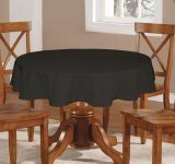 Lushomes Plain Pirate Black Round Table Cloth - 6 Seater