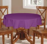 Lushomes Plain Royal Lilac Round Table Cloth - 6 Seater