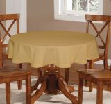 Lushomes Plain Sand Round Table Cloth - 6 Seater