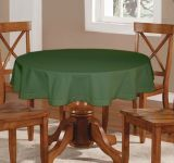 Lushomes Plain Vineyard Green Round Table Cloth - 6 Seater