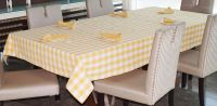 Lushomes Yarn Dyed Yellow Checks 6 Seater Table Cloth & Napkins Set