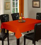 Lushomes Plain Red Wood Holestitch 12 Seater Orange Table Cover
