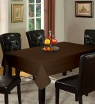 Lushomes Plain French Roast Holestitch 4 Seater Brown Table Cover