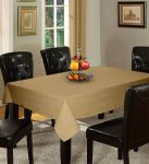 Lushomes Plain Sand Holestitch 8 Seater Beige Table Cover