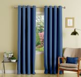 Lushomes Blue Polyester Blackout Curtains With 8 Eyelets For Long Door