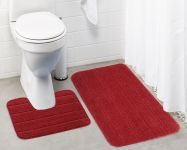 Lushomes Ultra Soft Microfiber Polyester Red Regular Bath Mat Set