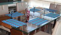 Lushomes Blue Waterproof Tablemat Set (6 Pcs)