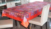 Lushomes Digital Printed Maroon Themed Table Cloth For 6 Seater