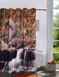 Lushomes Digitally Printed Waterfall Shower Curtain With 10 Eyelets