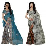 Wama Fashion Multi Colour Faux Georgette Pack Of 2 Sarees (code - Combo_1142_a-1163_d)