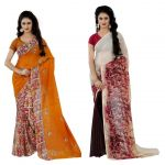 Wama Fashion Multi Colour Faux Georgette Pack Of 2 Sarees (code - Combo_1142_b-1147_d)