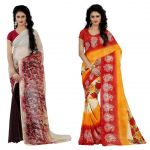 Wama Fashion Multi Colour Faux Georgette Pack Of 2 Sarees (code - Combo_1147_d-1160_c)