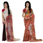 Wama Fashion Multi Colour Faux Georgette Pack Of 2 Sarees (code - Combo_1147_d-1161_d)