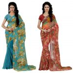 Wama Fashion Multi Colour Faux Georgette Pack Of 2 Sarees (code - Combo_1148_b-1161_d)