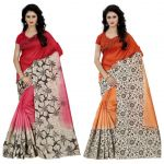 Wama Fashion Multi Colour Faux Georgette Pack Of 2 Sarees (code - Combo_1164_a-1173_a)