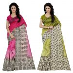 Wama Fashion Multi Colour Faux Georgette Pack Of 2 Sarees (code - Combo_1166_a-1167_a)