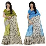 Wama Fashion Multi Colour Faux Georgette Pack Of 2 Sarees (code - Combo_1167_a-1168_a)