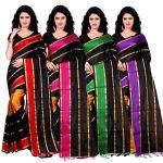 Wama Fashion Set Of 4 Silk Sarees (code - Combo_patta_red_pink_purple_green(pack Of 4)