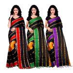 Wama Fashion Set Of 3 Silk Sarees (code - Combo_patta_red_green_purple(pack Of 3)