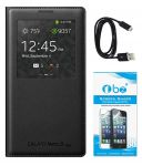 Tbz S View Leather Sensor Flip Cover Case For Samsung Galaxy Note3 Neo With Tempered Glass Screen Guard And Data Cable -black