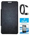 Tbz Premium Flip Cover Case For Htc Desire 526g+ With Tempered Screen Guard -black