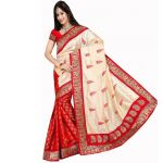 Kia Fashions Silk Touch Red Color Saree