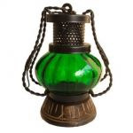 Onlishoppee Wooden & Iron Hand Carved Colored Chimney Lantern Design Green