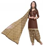 Multi Retail Brown Printed Poly Cotton Unstitched Patiala Suit With Dupatta_c763ps4ph4006sa
