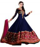 Bikaw Embroidered Blue And Pink Georgette Party Wear Semi-stitched Suit