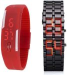 New Red And Black Digital Metal LED Watch For Mens Women,s