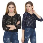 Jollify Womens Blue And Black Net Crop Top Combo(pak Of 2) (product Code - Croptopblueblk2-)