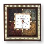Vivan Creation Antique Handcrafted Gemstone Wooden Wall Clock 189