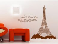 Decals Arts Brown Eiffel Tower Removable Pvc Wall Sticker