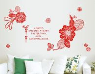 Decals Arts Flower Romantic 3 Generations Removable Red Wall Stickers