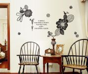 Decals Arts Flower Romantic 3 Generations Removable Black Wall Stickers