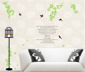 Decals Arts Birdcage And Birds Vinyl Wall Sticker For Kids Rooms