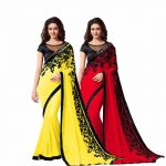 Bhuwal Fashion Multicoloured Chiffon Saree Combos(combo186)