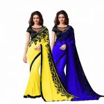 Bhuwal Fashion Multicoloured Chiffon Saree Combos(combo187)