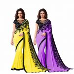 Bhuwal Fashion Multicoloured Chiffon Saree Combos(combo189)