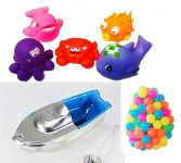 Kuhu Creations Explorer Tin Toy Boat 1pc, Bath Toys 5pcs & Colorful Ping Pong Style Ball 24pcs Baby Swimming & Sounding Bath Toys