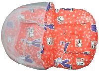 Baby Bed With Net & Pillow Cushioned Printed Foldable Portable Orange