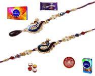 Rakhi Gifts To India-beautiful Pearl Peacock Bhaiya Bhabhi Rakhi Set (product Code - Mo16003)