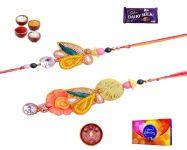 Raksha Bandhan Gifts-stylish Bhaiya Bhabhi Rakhi Set (product Code - Sa1012)