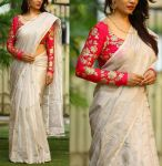 Style Amaze Designer Cream Color Chanderi Silk Saree With Embroidered Blouse (code - Sasunday-2154)