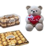 Rocher Chocolates And Says Love U Teddy