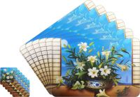 Glassiano Floral Printed Table Mats - (set Of 6pcs + 6pcs Coaster) (code - Gitm_goldf42)