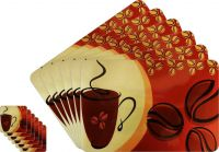 Glassiano Abstract Printed Table Mats - (set Of 6pcs + 6pcs Coaster) (code - Gitm_goldf45)