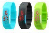 Pack Of 3color Skyblue Grey Green LED Digital Watches For Men And Women
