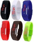 Set Of 6 Digital Rubber Jelly Slim Silicone Sports LED Smart Band Watch For Boys, Girls, Men, Women, Kids