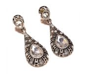 Sanaa Creations Black Metal With Cz Studded Drop Shape Earring-(product Code-1ern09)